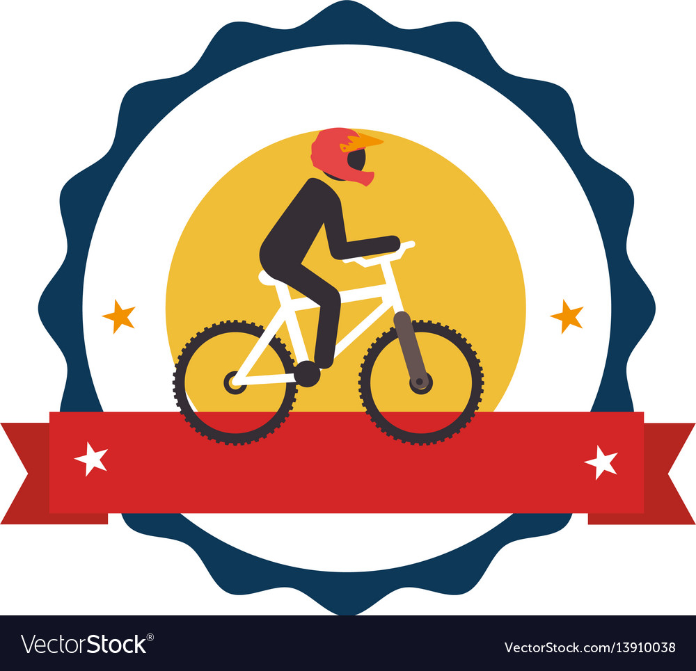 Circular stamp with bicycle and man cyclist