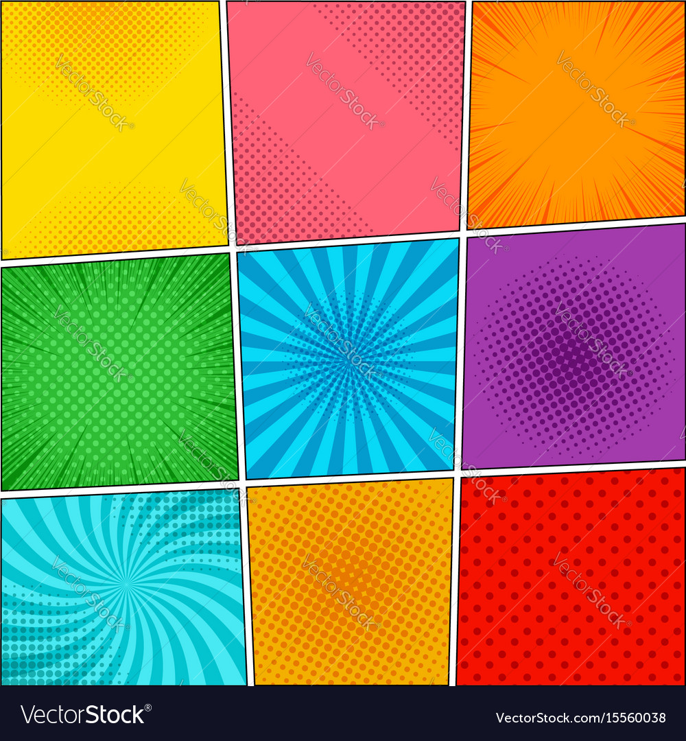 Comic book colorful backgrounds collection vector image