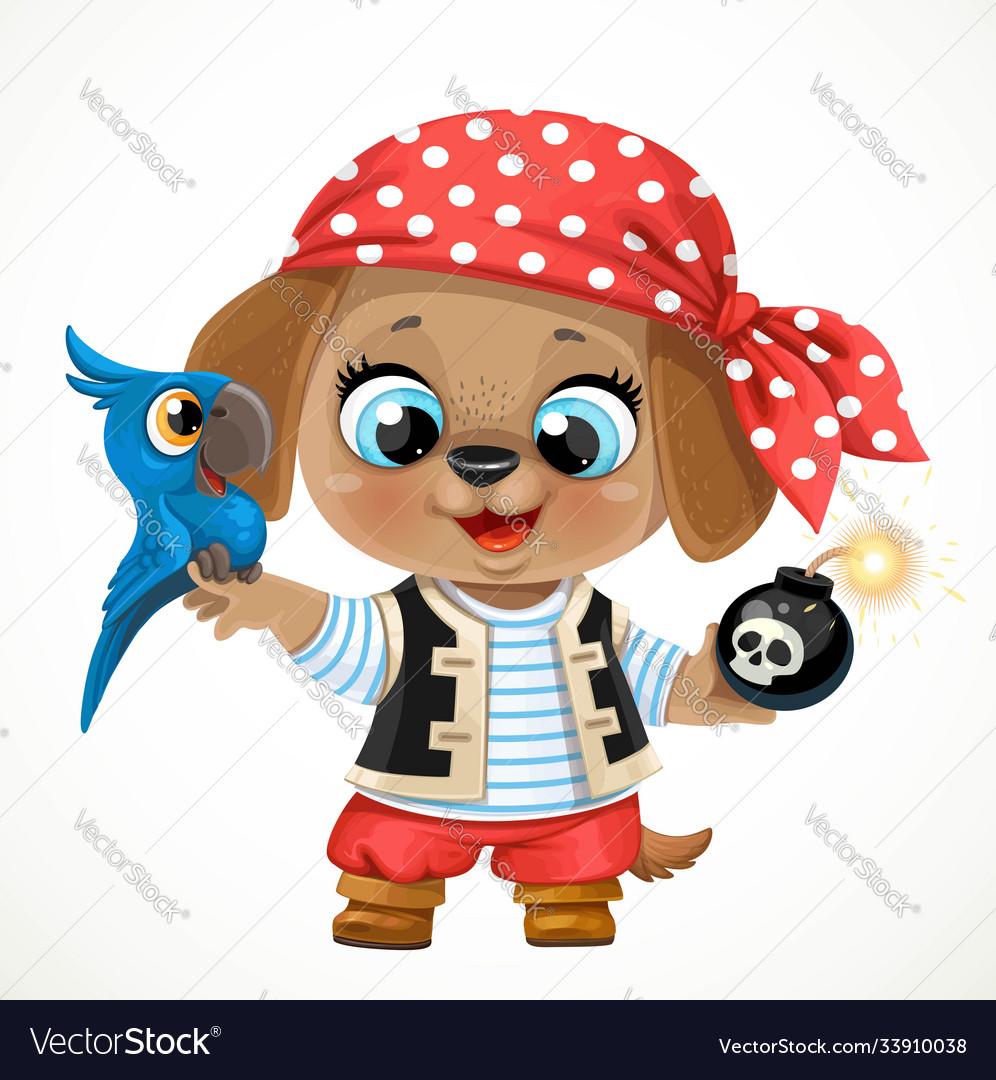 Cute cartoon baby dog dressed in pirate costume