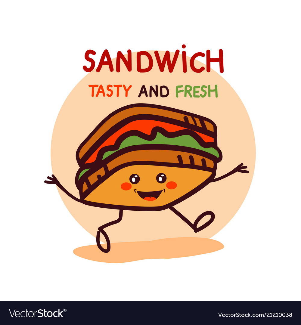 Cute cartoon sandwich logo