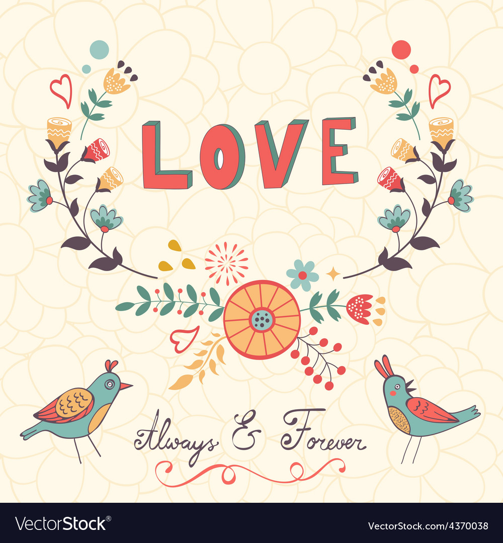 Elegant love card with birds and floral wreath
