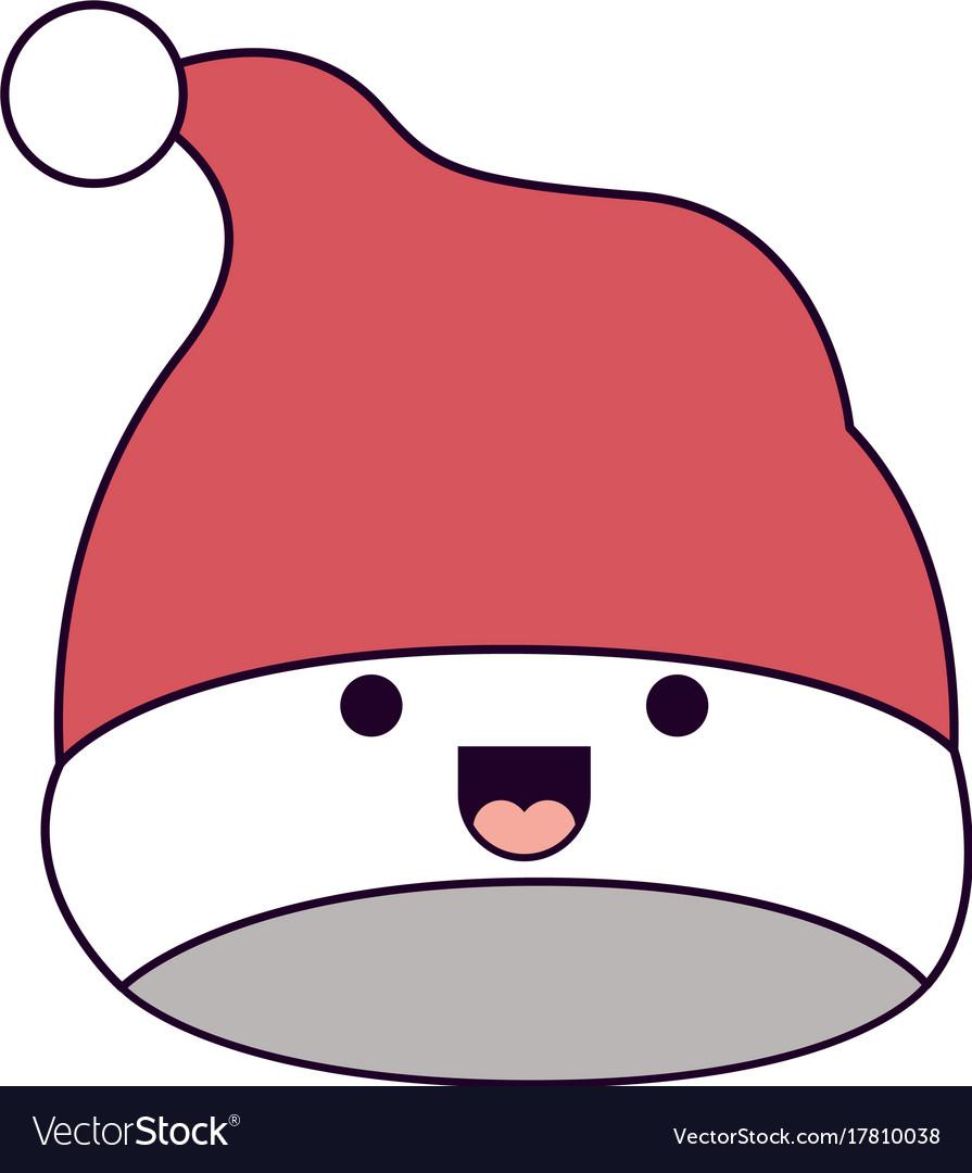 Kawaii christmas hat santa claus smiling Vector Image