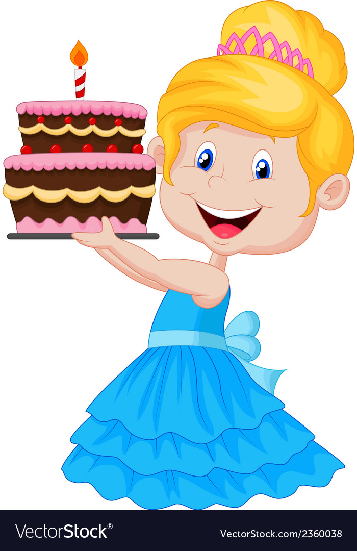 Little Girl Cartoon With Birthday Cake Royalty Free Vector