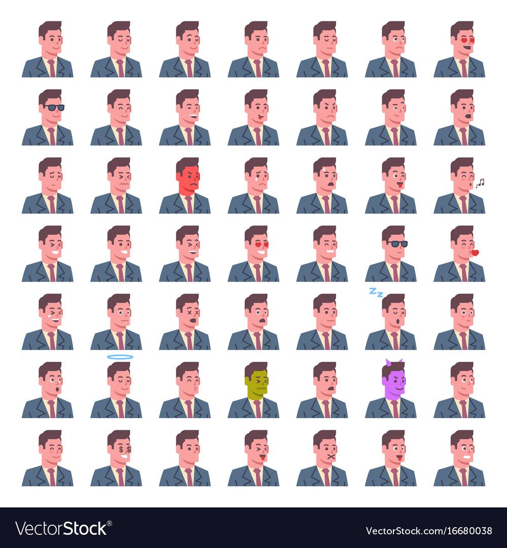 Male smiling emotion icons set isolated avatar man