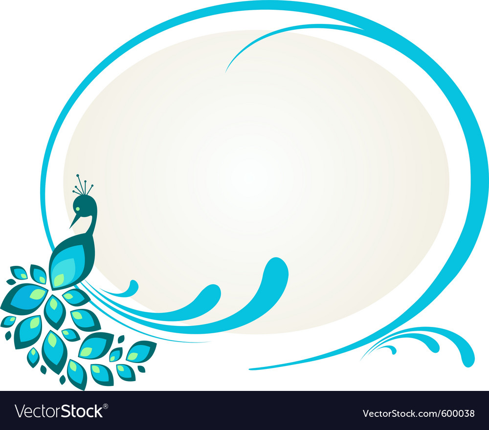 Peacock floral frame vector image