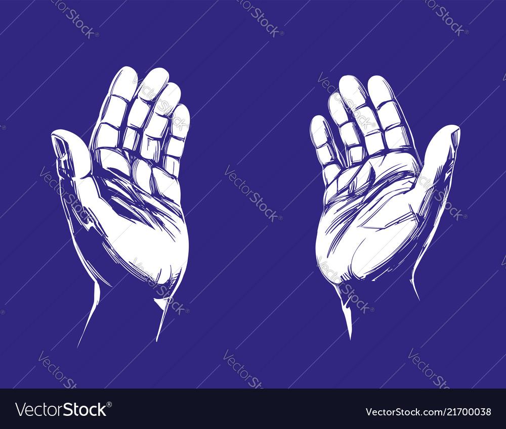 Praying hands symbol of christianity hand drawn