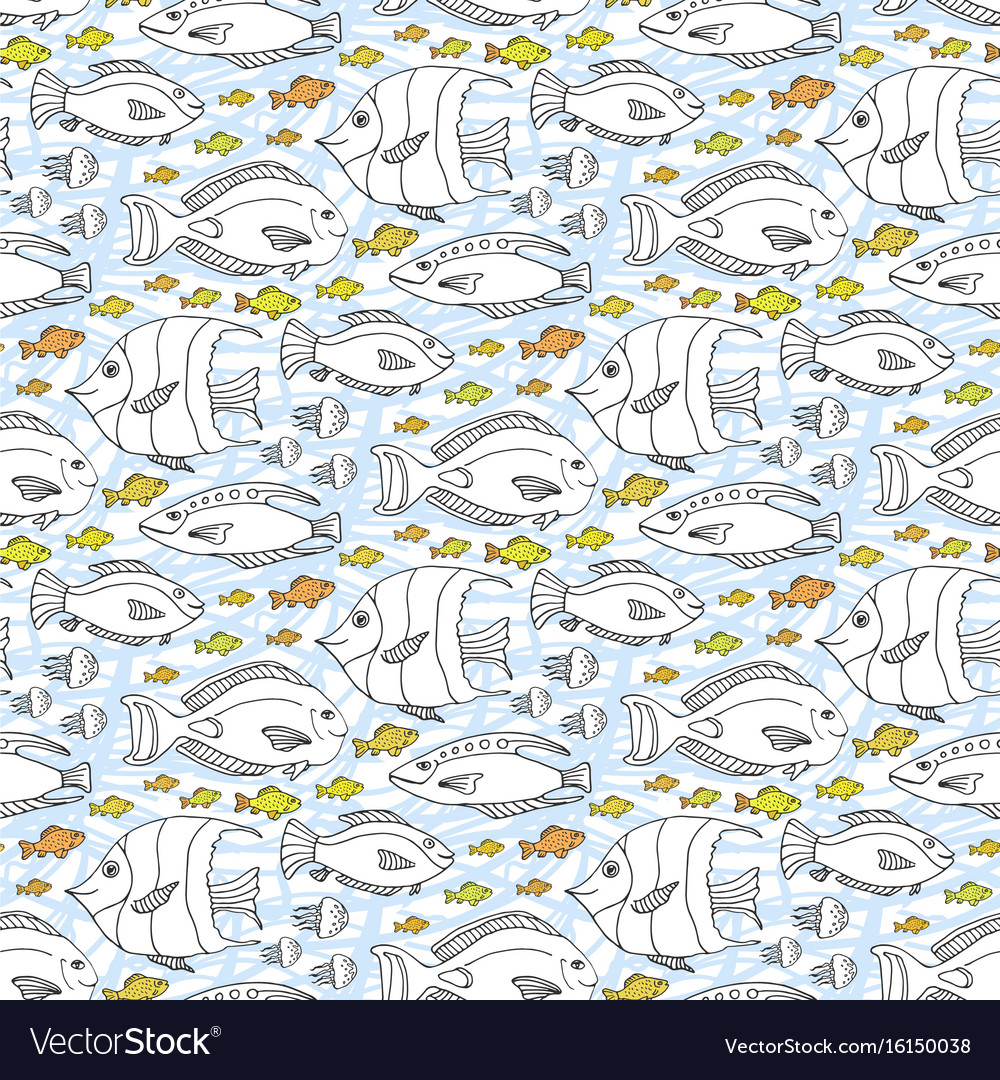Sketch doodle fishes pattern hand drawn sea life