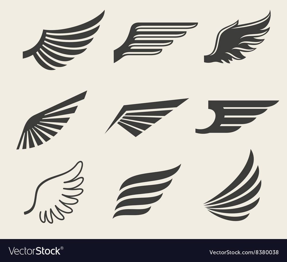 Wings icons set