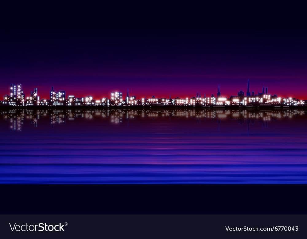 Abstract purple sunset background with silhouette vector image