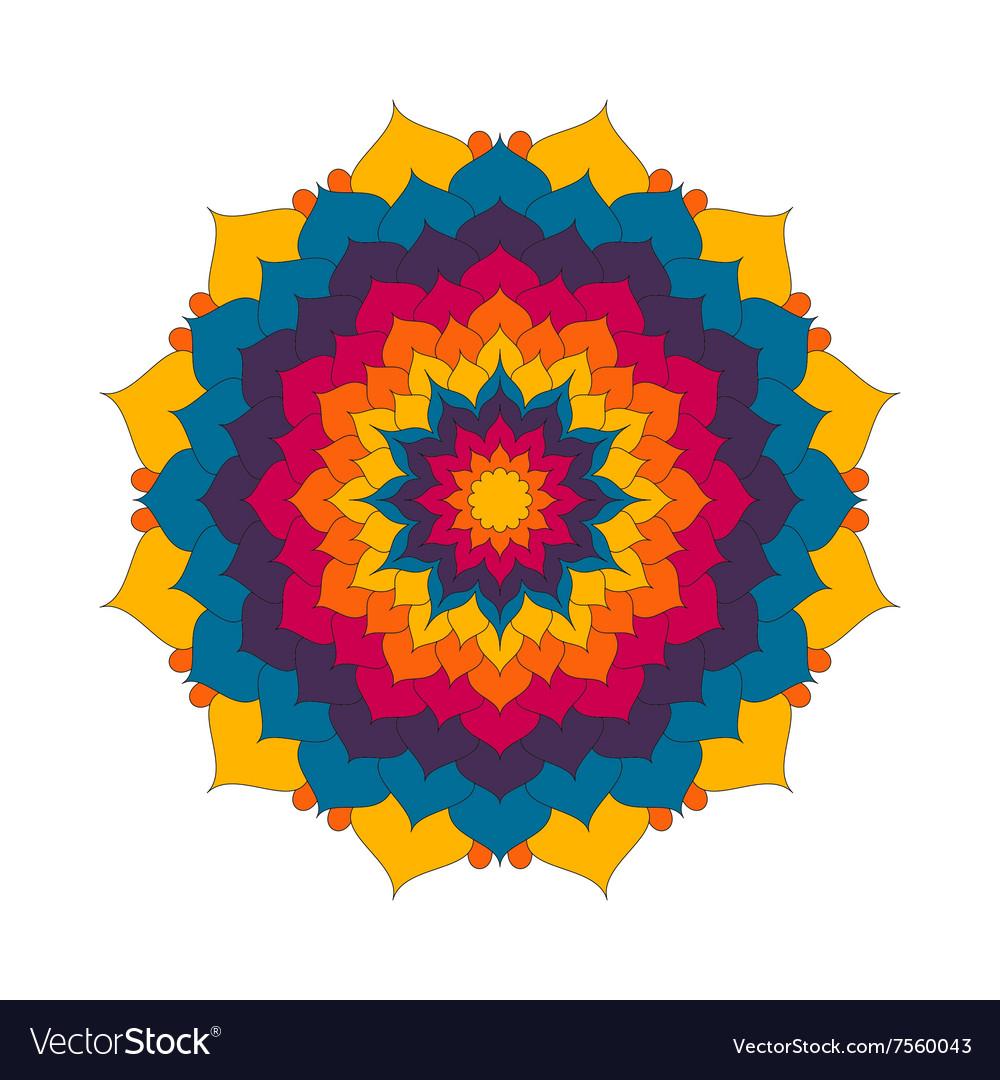 Adult Coloring Book Pattern Mandala Lotus Flower Vector Image