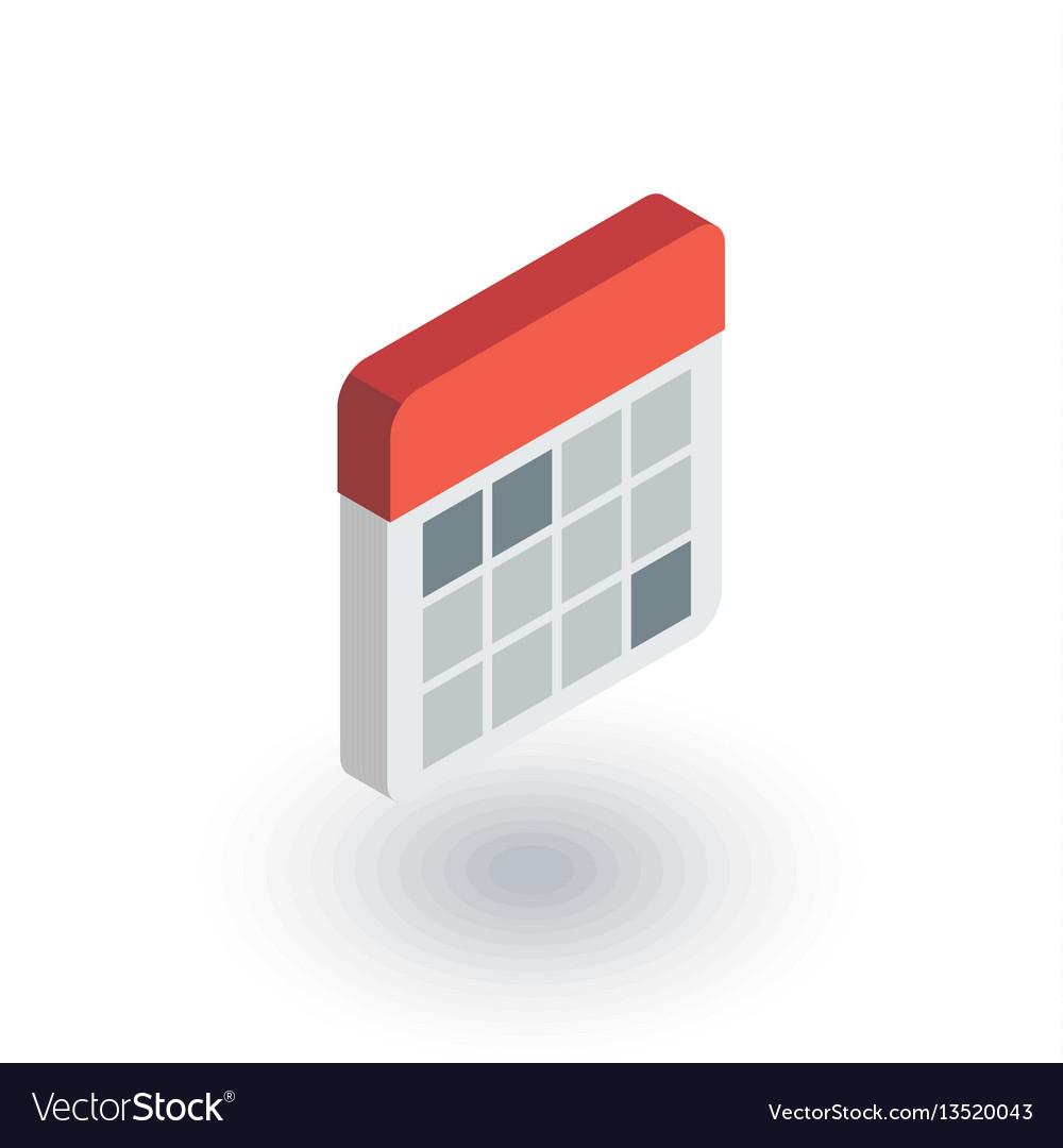 Calendar isometric flat icon 3d