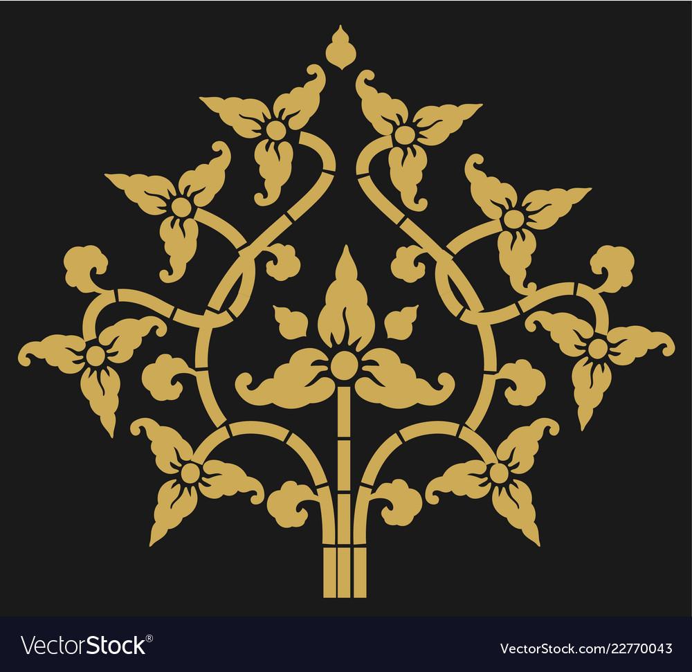 Golden floral art on dark background single draw