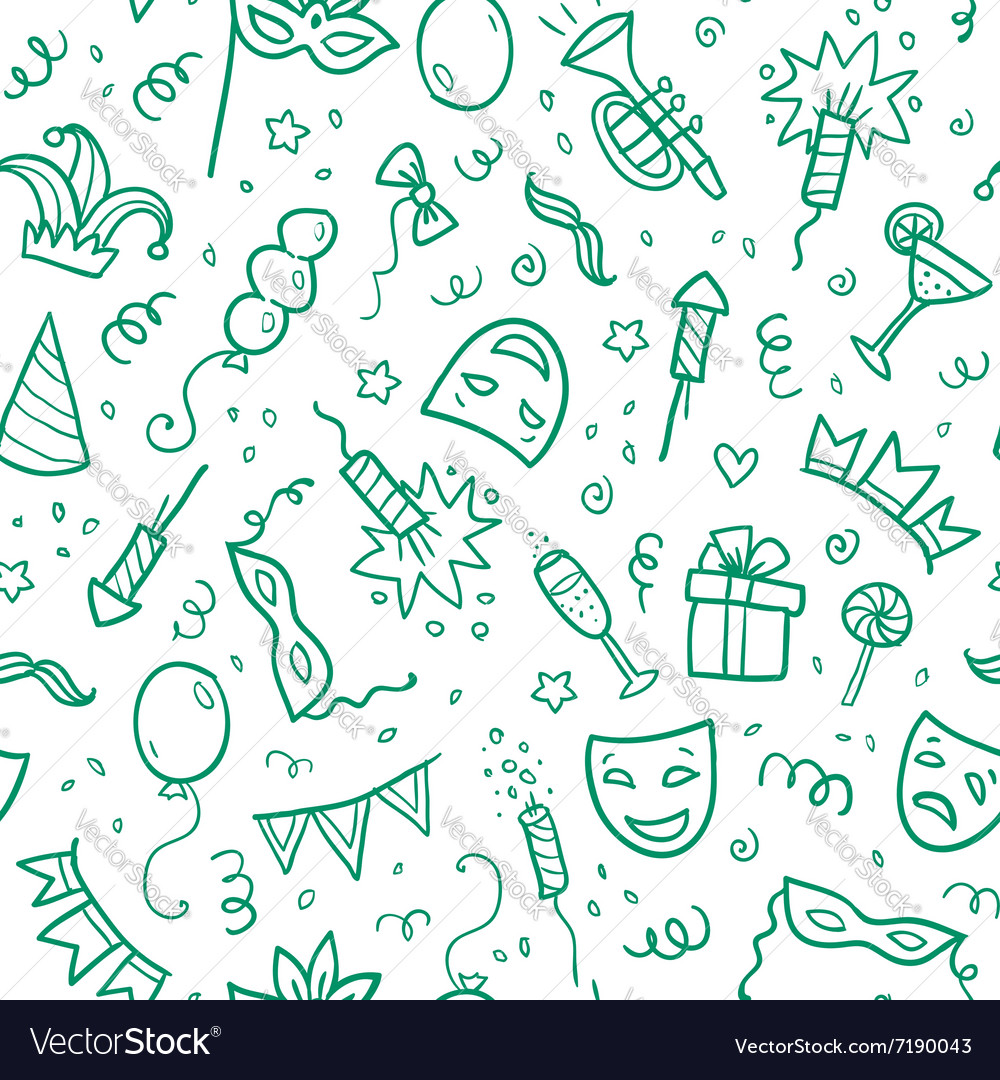 Green carnival symbols in doodle style on white