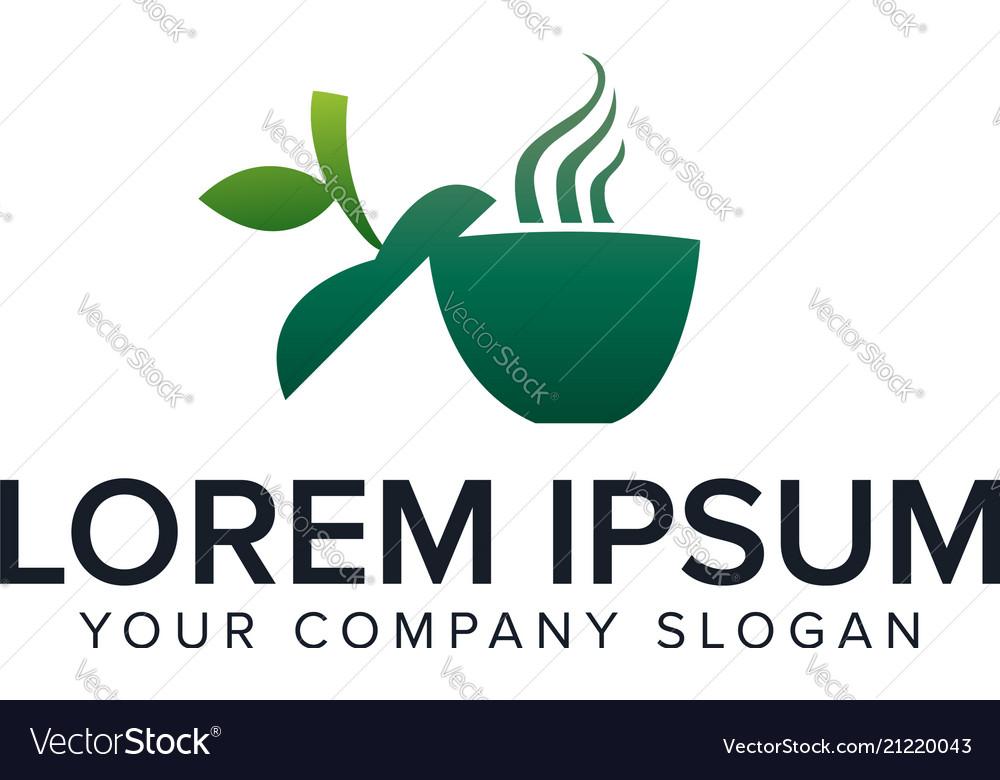 Green coffe logo green drink logo design concept
