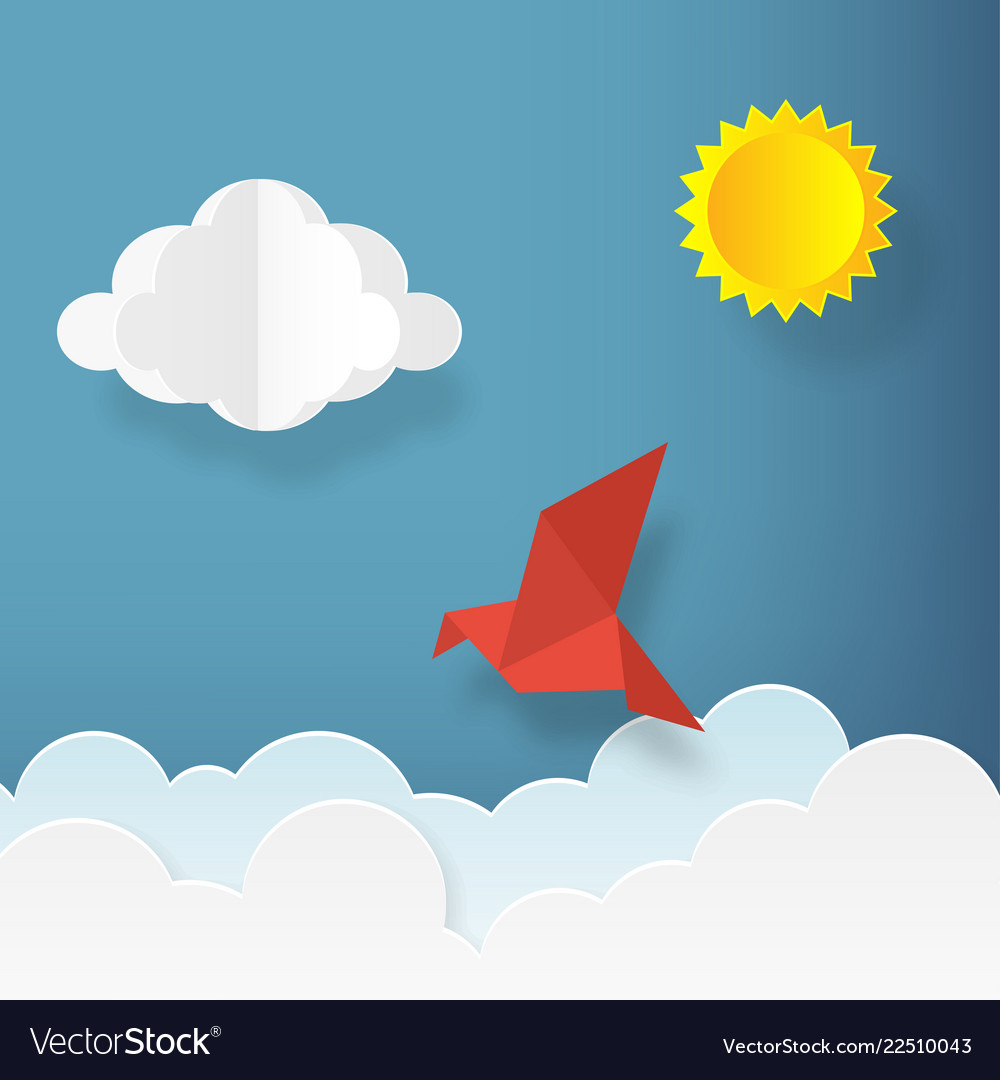 In paper art style bird with clouds and sun on
