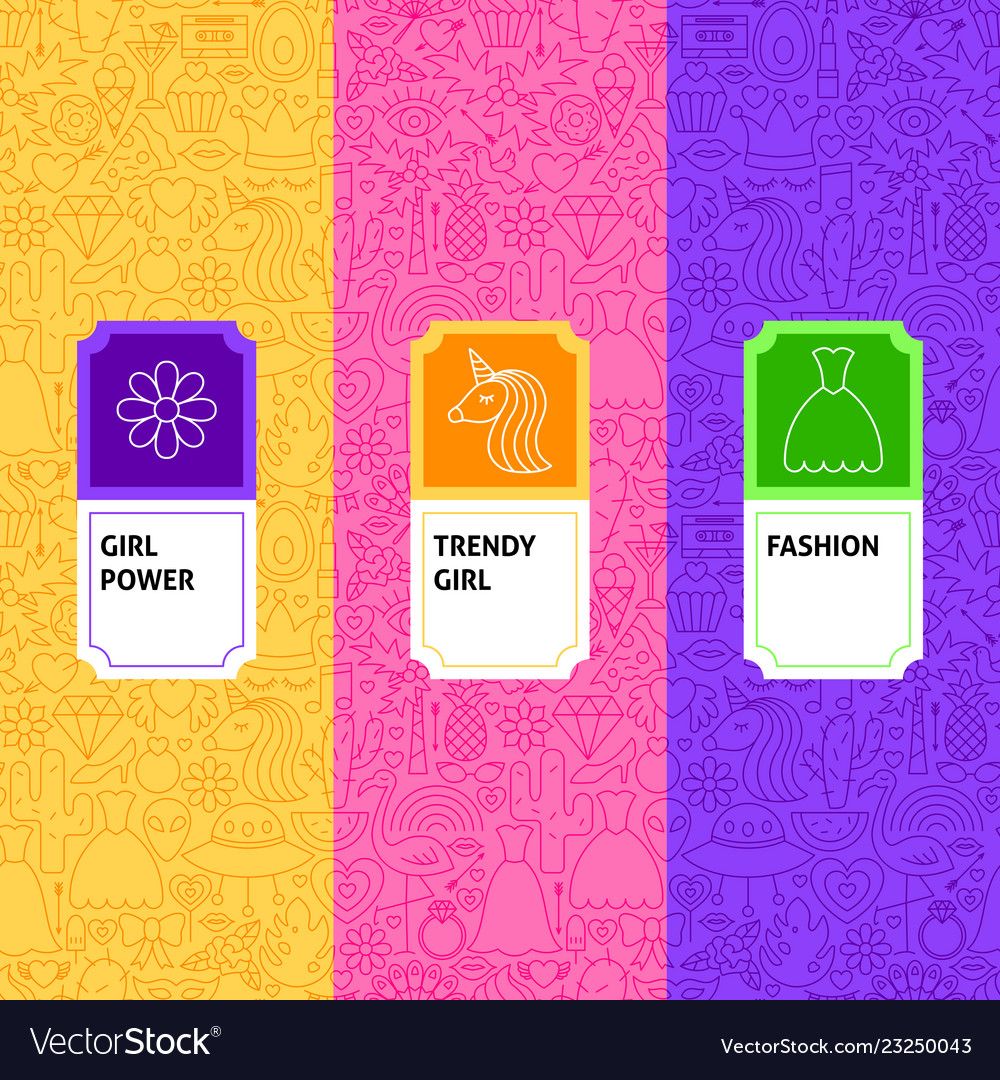 Line girl trendy package labels