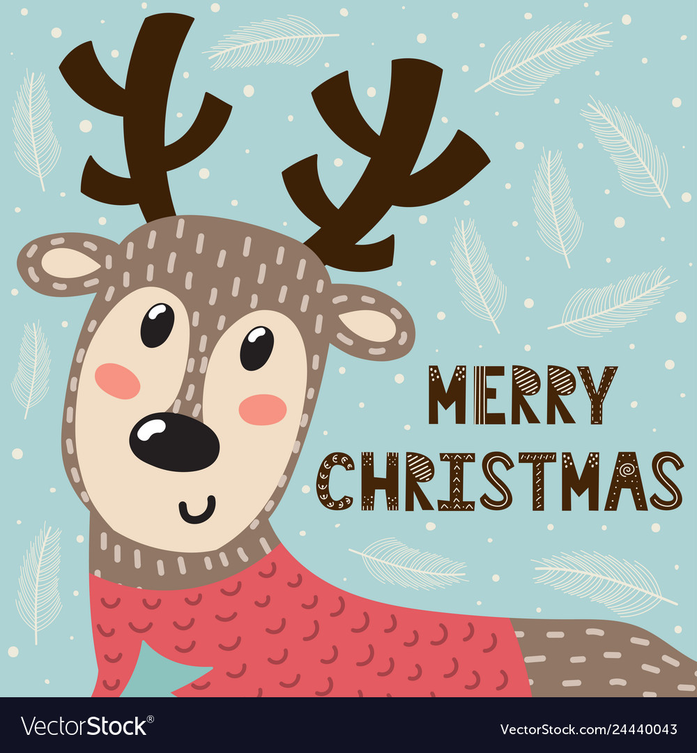 Merry christmas greeting card with a cute deer