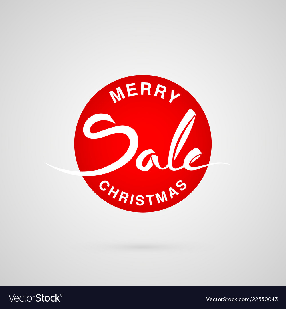9fa29b4f58bc Merry christmas sale round lettering logo Vector Image