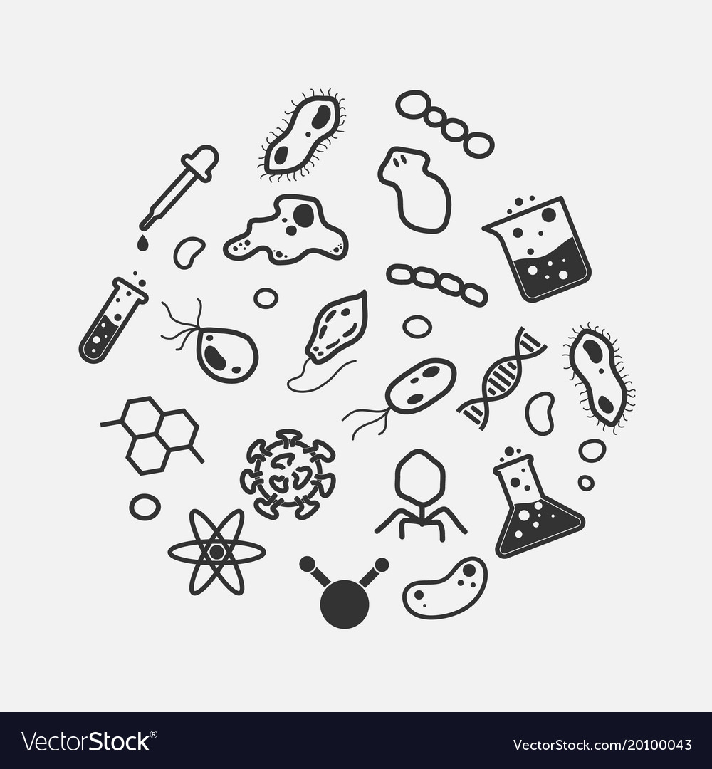 Simple science and micro organism icon set virus