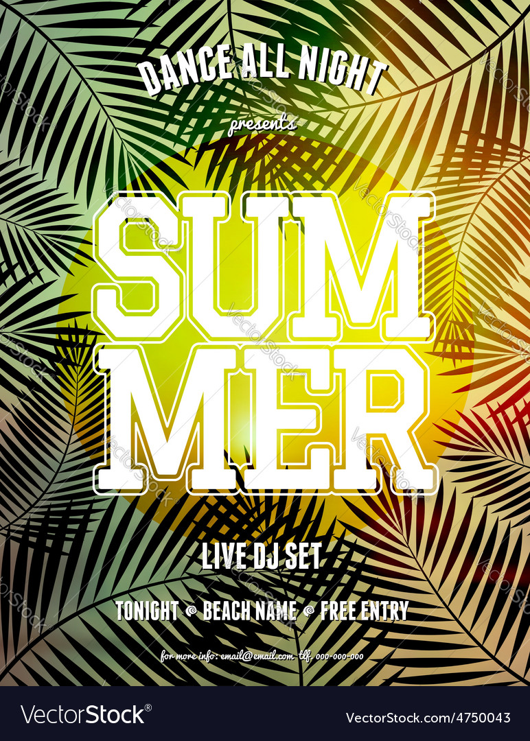 Summer party palm leaves and sunlight flyer design