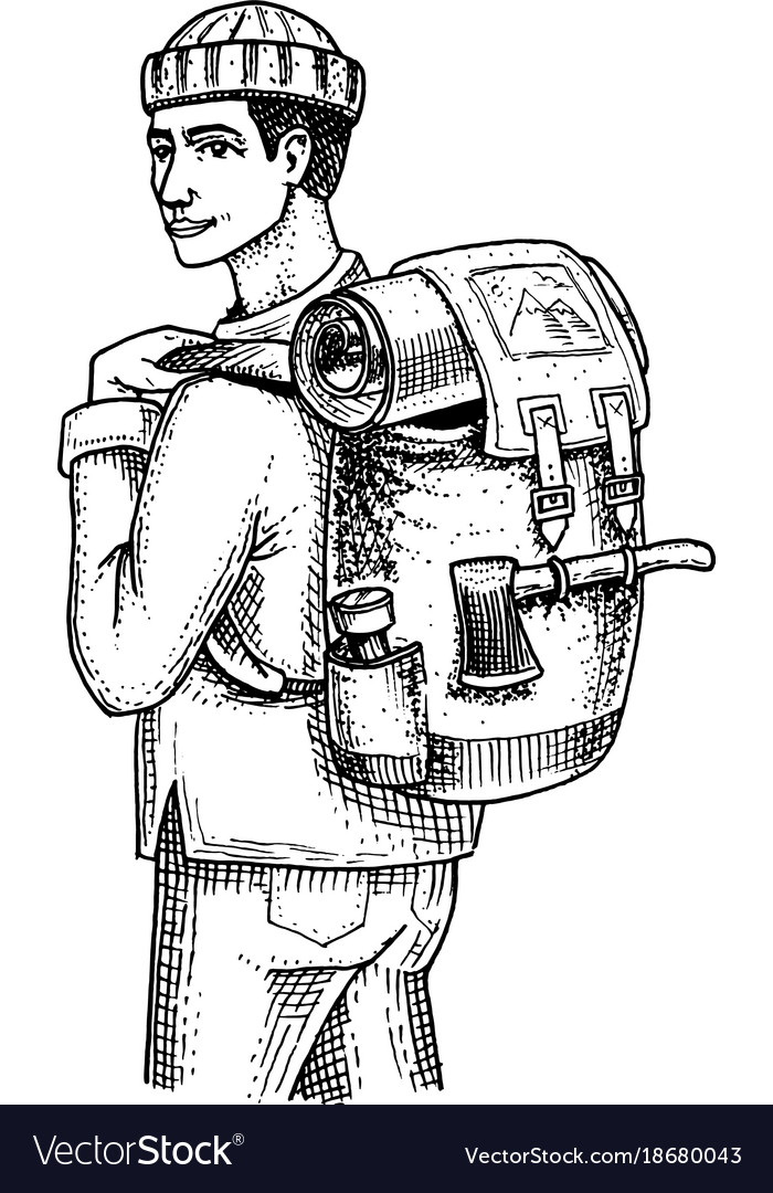 Traveling man with backpack and luggage camping