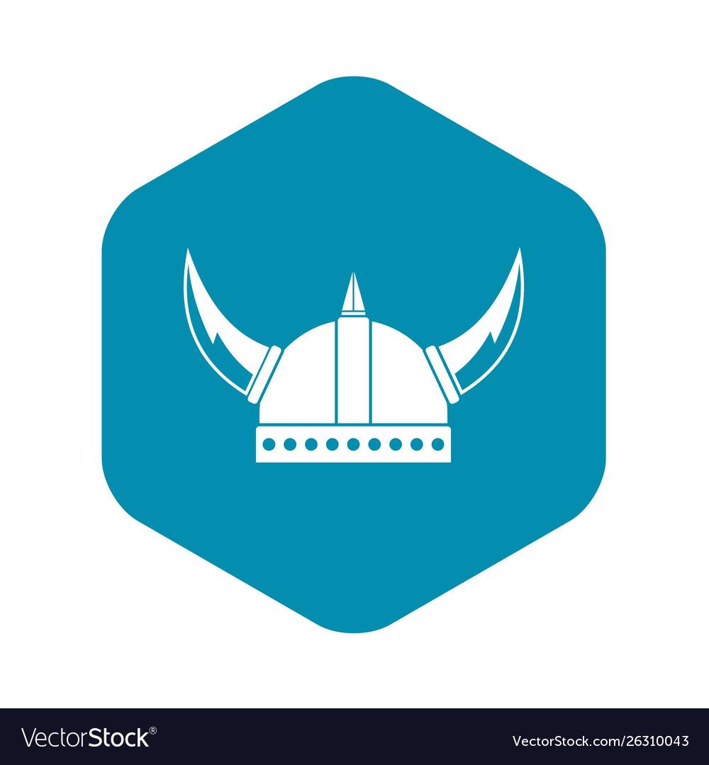 Viking helmet icon simple style