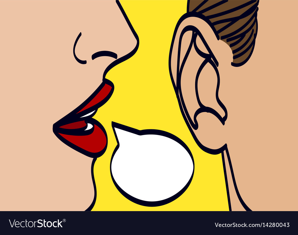 Woman lips whispering in mans ear drawing Vector Image Woman Ear Sketch