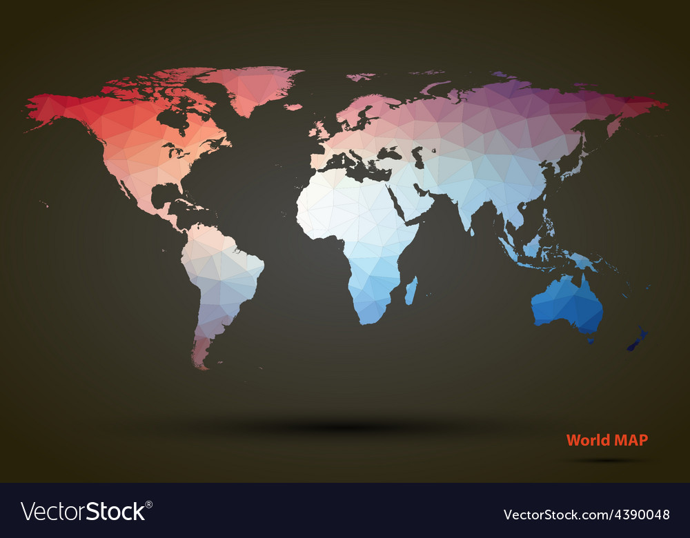 Abstract colorful triangle world map royalty free vector abstract colorful triangle world map vector image gumiabroncs Images