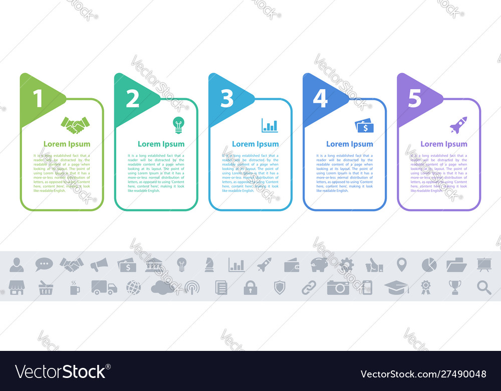 Business infographic design template - 5 steps