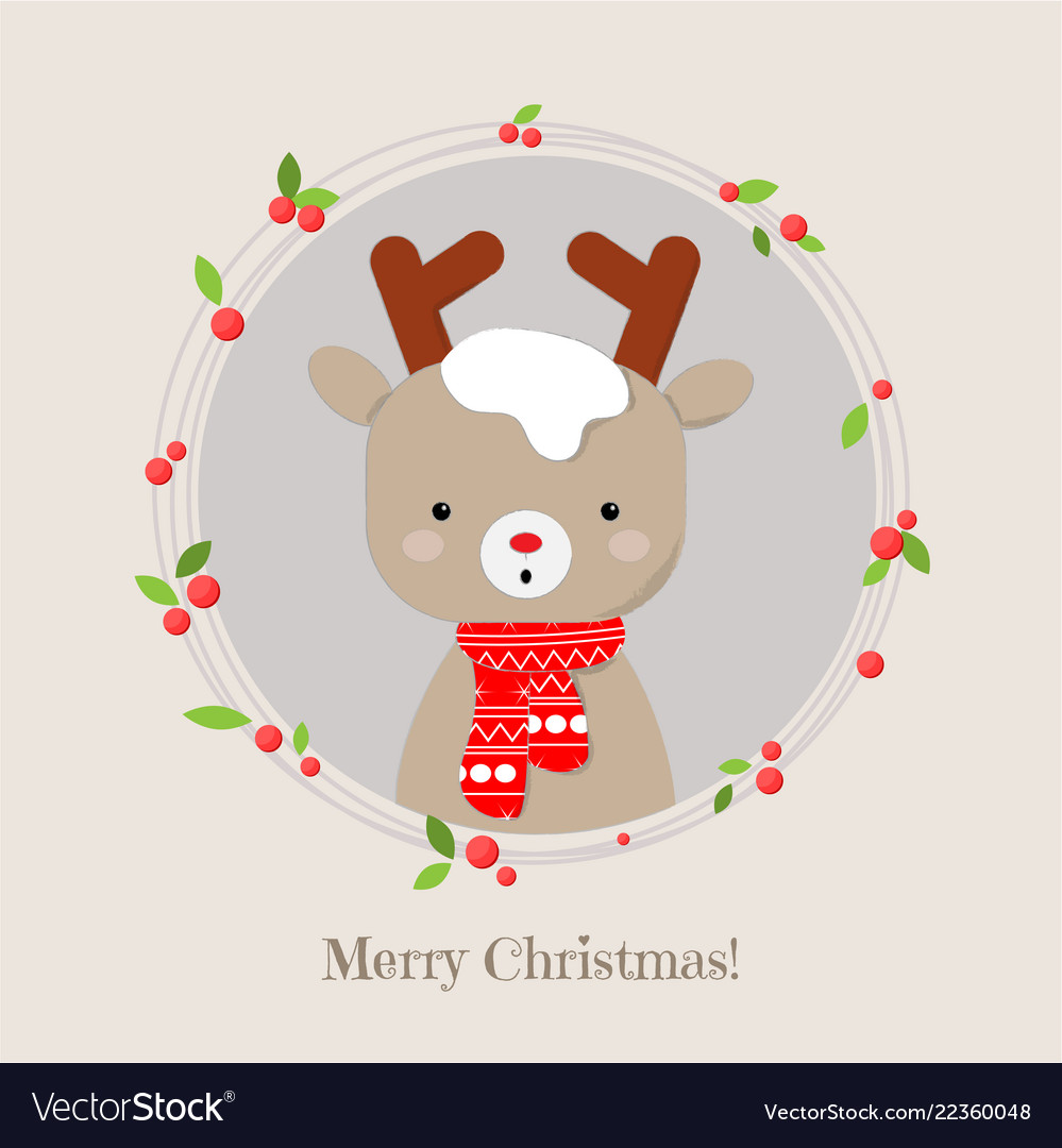 Cute Christmas Pictures.Cute Reindeer Cartoon Lovely Christmas Background