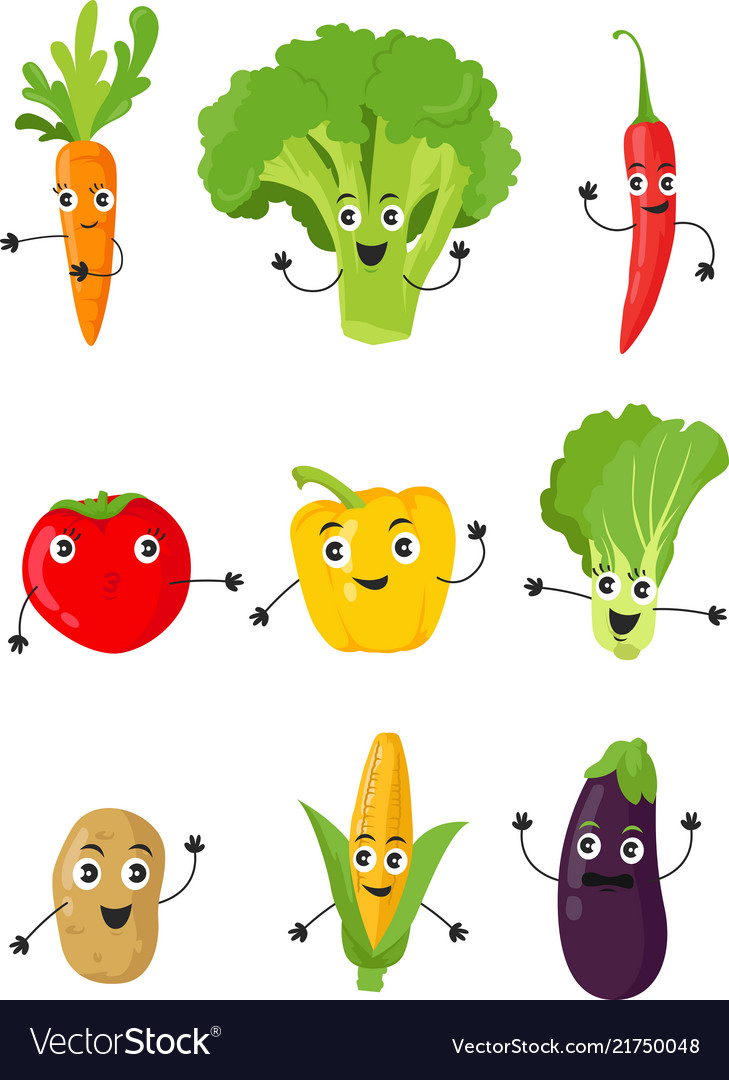 Funny cartoon vegetable characters flat set icon