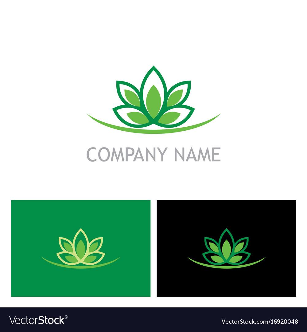 Green lotus flower ecology logo