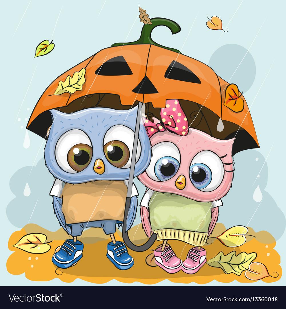 Halloween card two cute cartoon owls