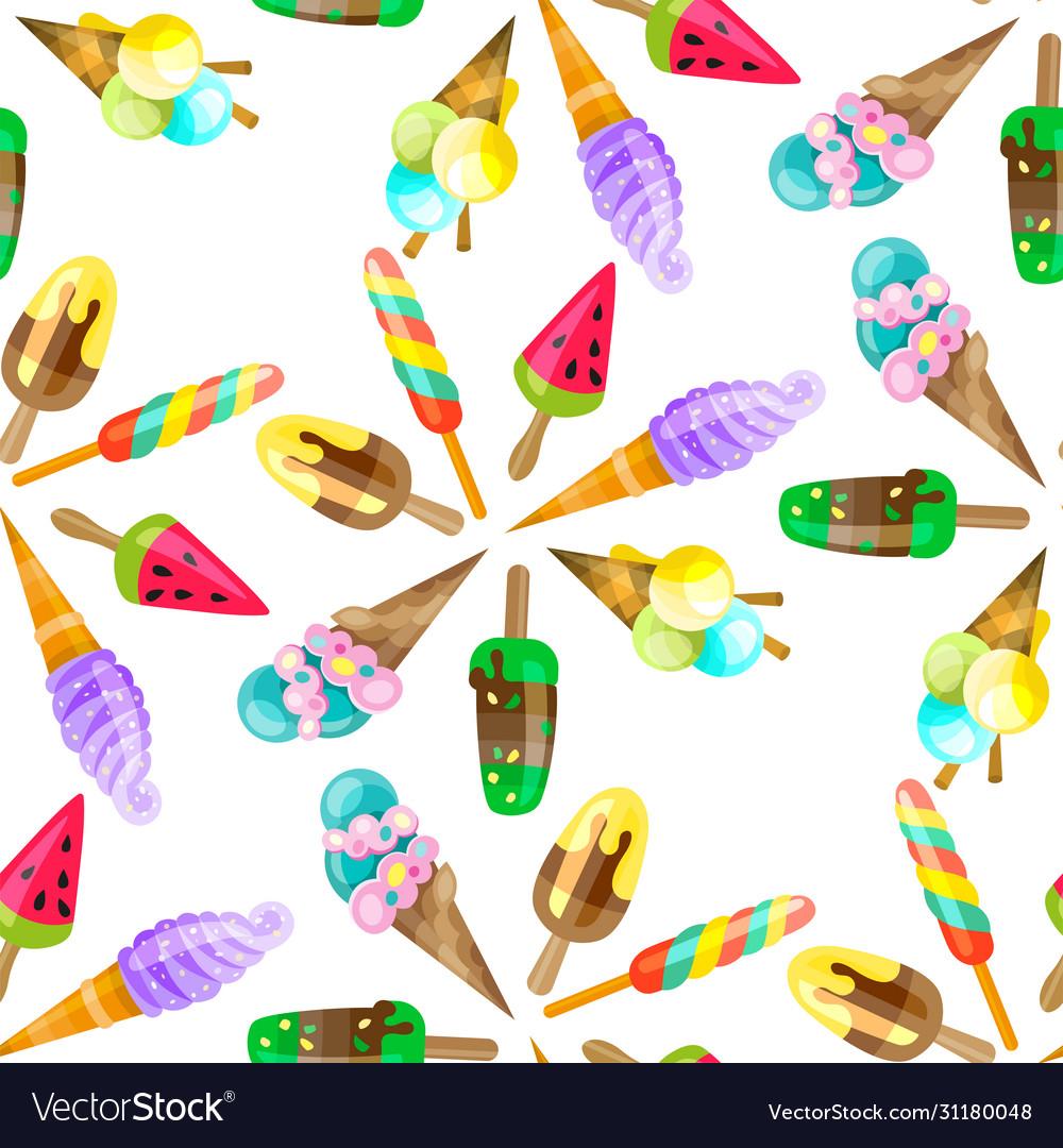Ice cream cone seamless pattern background