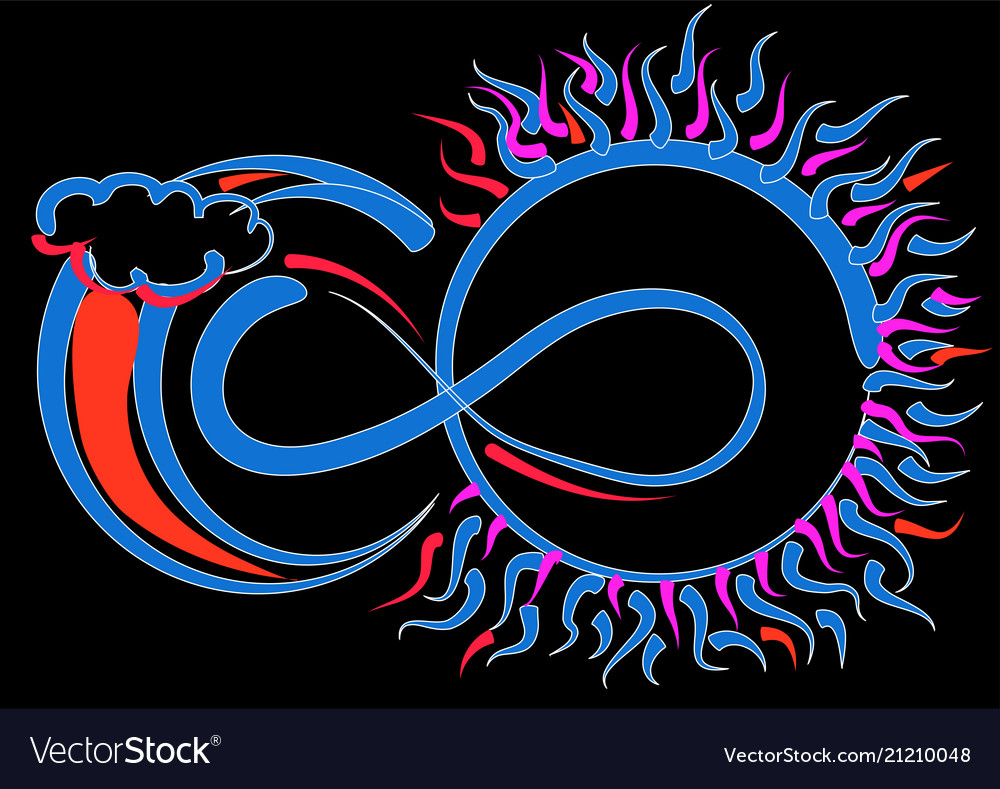 Infinity Symbol Sun And Moon Royalty Free Vector Image