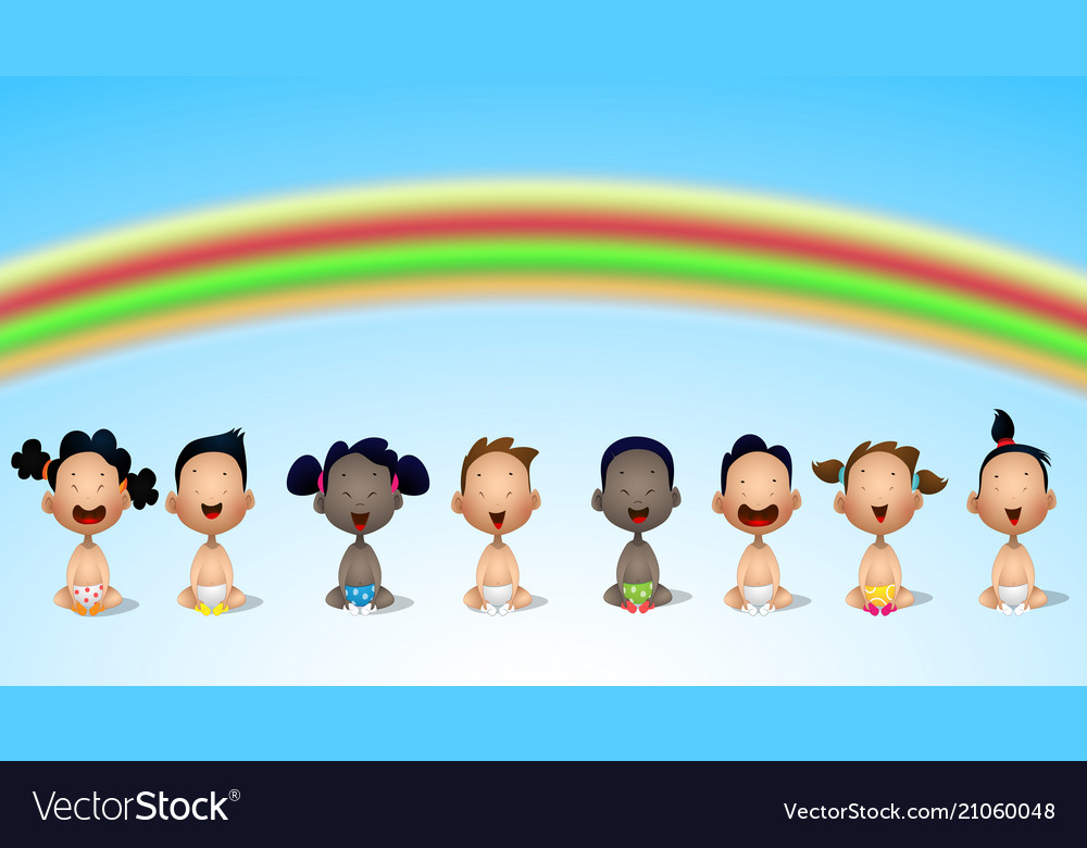 Interracial group of babies and toddlers under