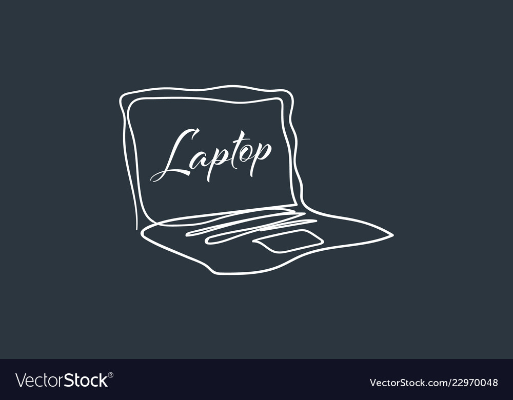 Laptop with one continuous single line art