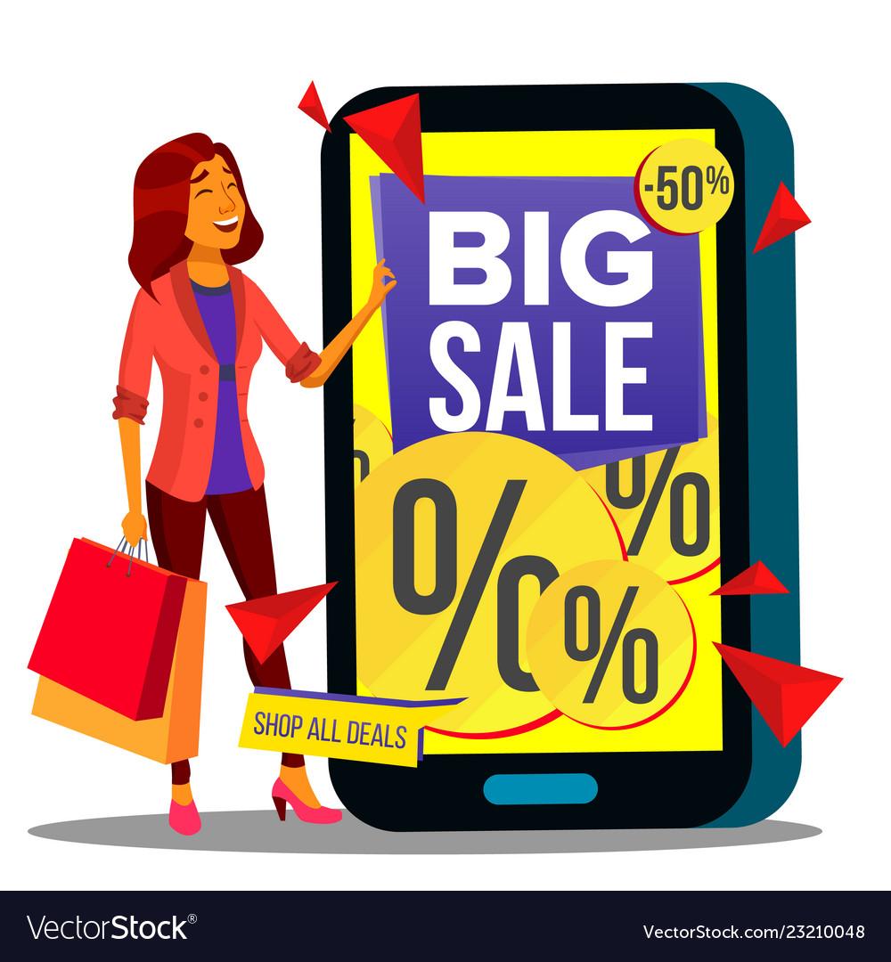 Online shopping modern beautiful woman