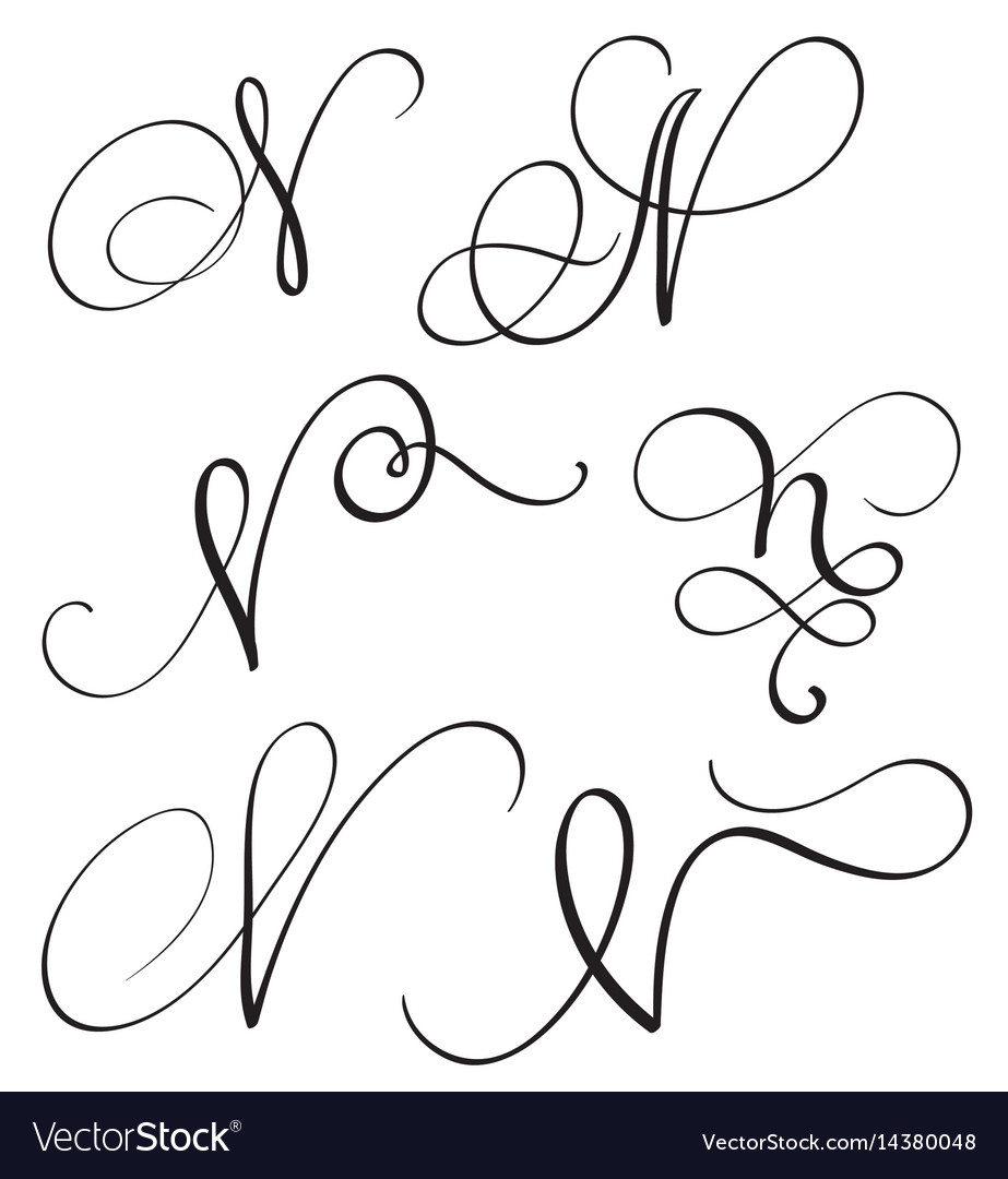 Set Of Art Calligraphy Letter N With Flourish Vector Image