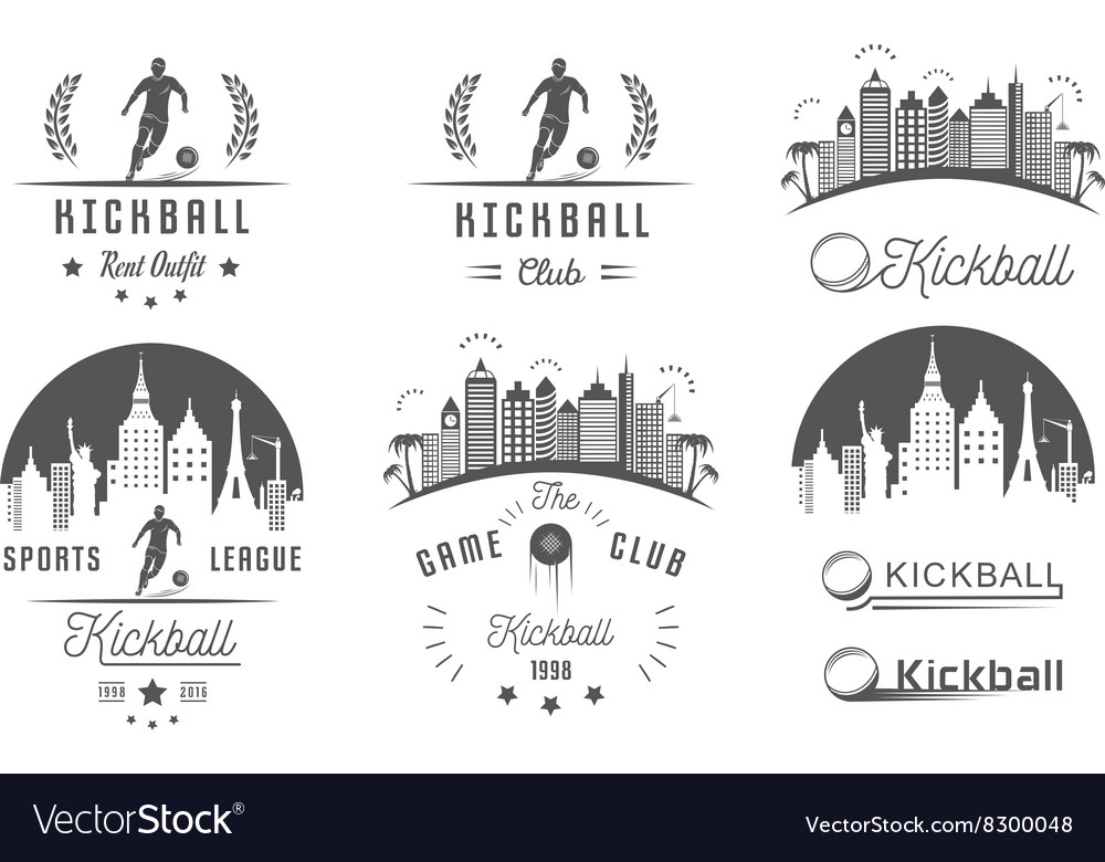 Set of Kickball Logo Badges and Emblems