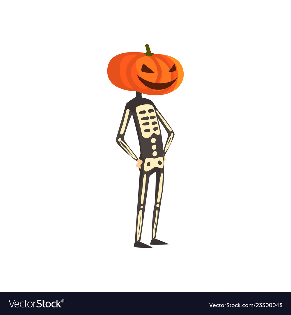 Skeleton with a pumpkin on his head funny person