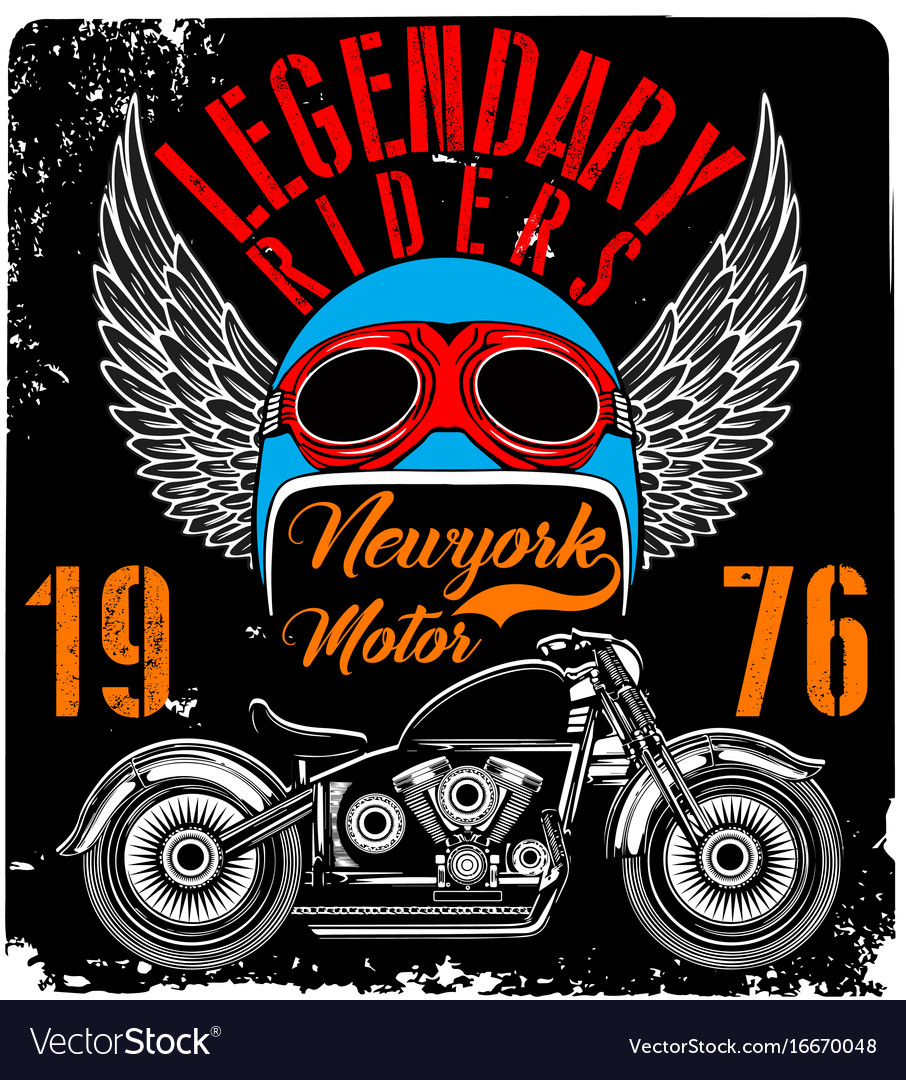 53ce49744 Vintage motorcycle t-shirt graphic Royalty Free Vector Image