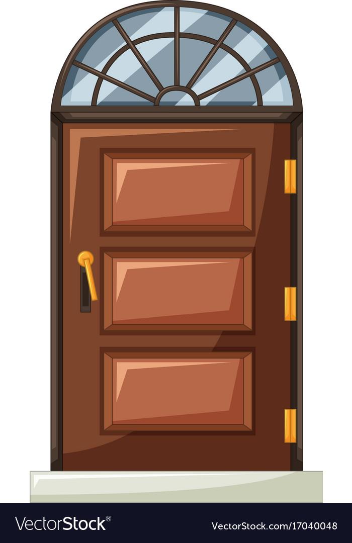 Wooden Door With Curve Window On Top Vector Image