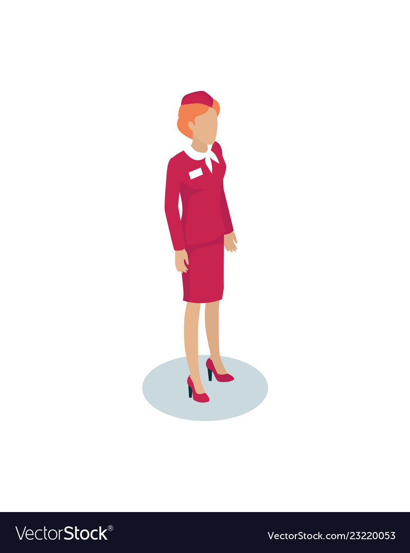 121951e0d3513 Air hostess or stewardess isometric depiction Vector Image