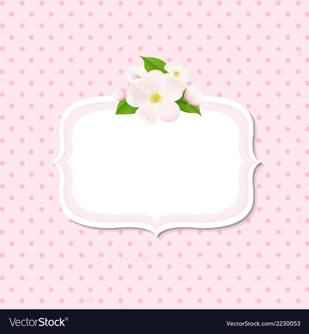 Apple Tree Flowers Background With Label vector image