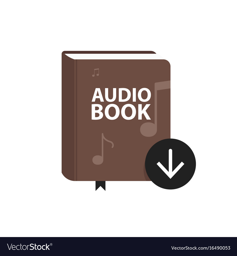 Audio book icon with download arrow button online vector image