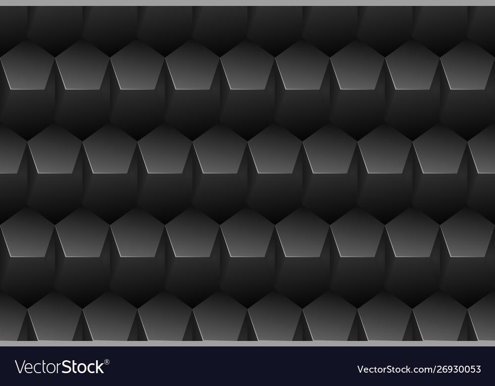 Black embossed pattern plastic pentagon