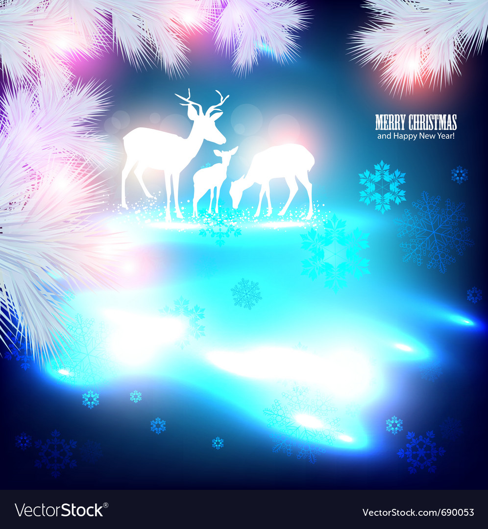 Beautiful Christmas Background.Blue Beautiful Christmas Background With Reindeer