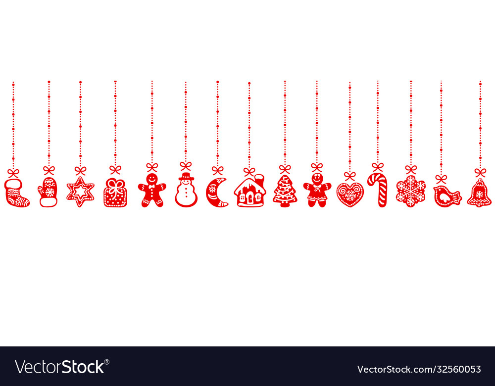 Christmas gingerbread cookies hanging on red