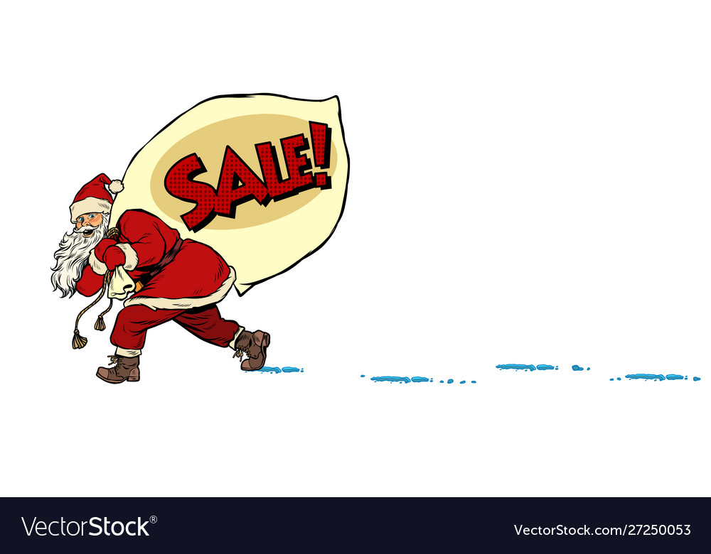 Christmas sale business concept santa with a bag